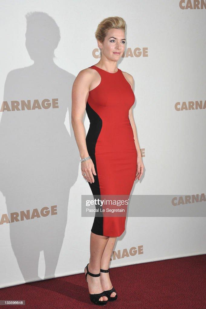 Kate Winslet attends 'Carnage' Paris premiere at Cinema Gaumont Marignan on November 20 2011 in Paris France