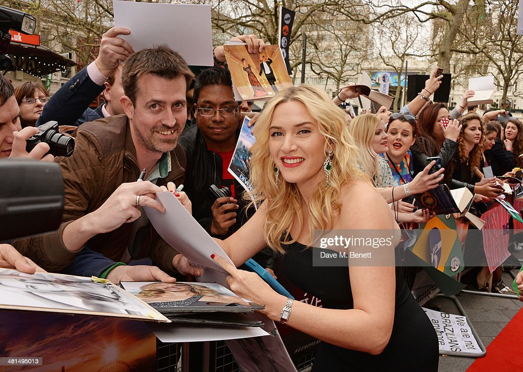 <a gi-track='captionPersonalityLinkClicked' href=/galleries/search?phrase=Kate+Winslet&family=editorial&specificpeople=201923 ng-click='$event.stopPropagation()'>Kate Winslet</a> attends the European Premiere of 'Divergent' at Odeon Leicester Square on March 30, 2014 in London, England.