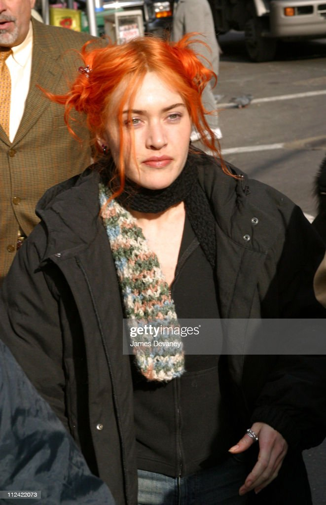kate winslet during jim carrey and kate winslet on location for eternal sunshine of the