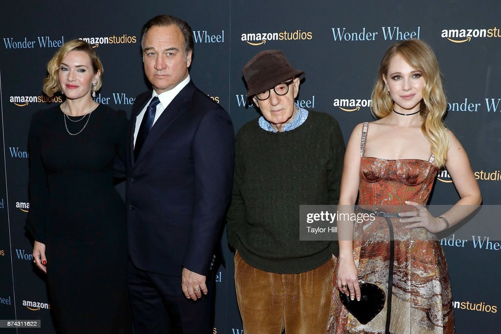 Kate Winslet, Jim Belushi, Woody Allen, and Juno Temple attend the premiere of 'Wonder Wheel' at Museum of Modern Art on November 14, 2017 in New York City.