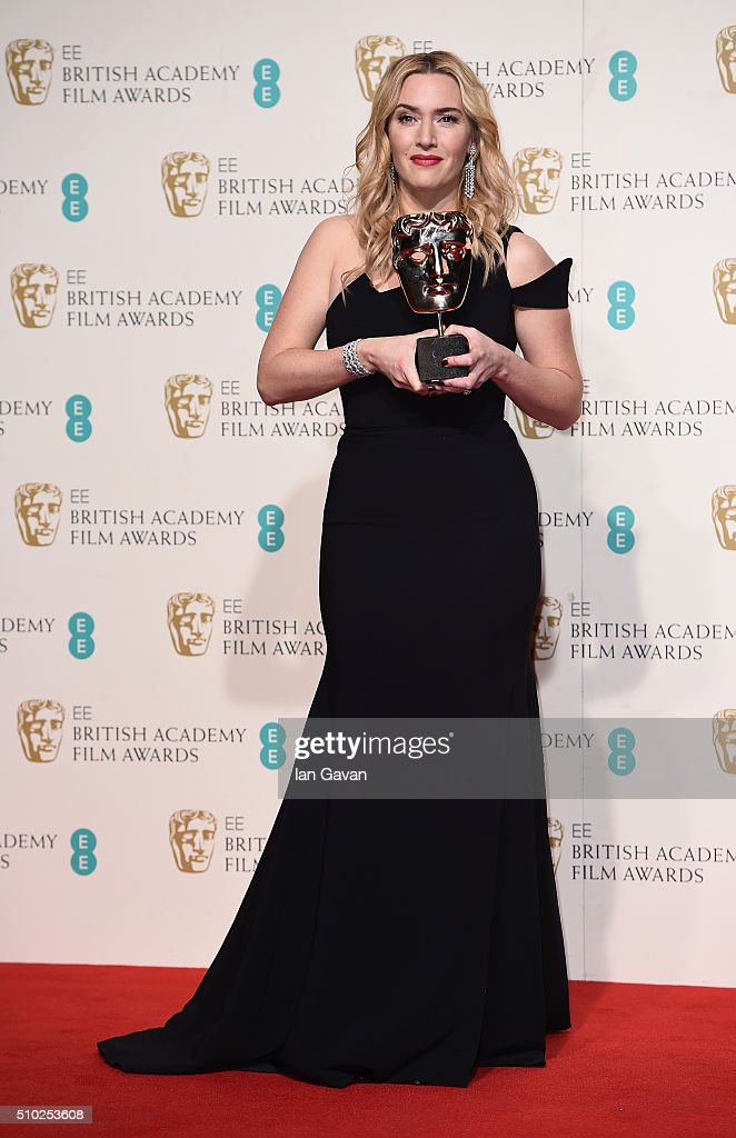 <a gi-track='captionPersonalityLinkClicked' href=/galleries/search?phrase=Kate+Winslet&family=editorial&specificpeople=201923 ng-click='$event.stopPropagation()'>Kate Winslet</a> poses with the Best Supporting Actress Award for 'Steve Jobs' in the winners room at the EE British Academy Film Awards at the Royal Opera House on February 14, 2016 in London, England.