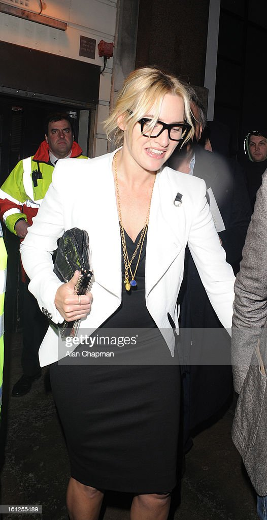 <a gi-track='captionPersonalityLinkClicked' href=/galleries/search?phrase=Kate+Winslet&family=editorial&specificpeople=201923 ng-click='$event.stopPropagation()'>Kate Winslet</a> sighting leaving the Prince of Wales Theatre following The Book of Mormon press night on March 21, 2013 in London, England.