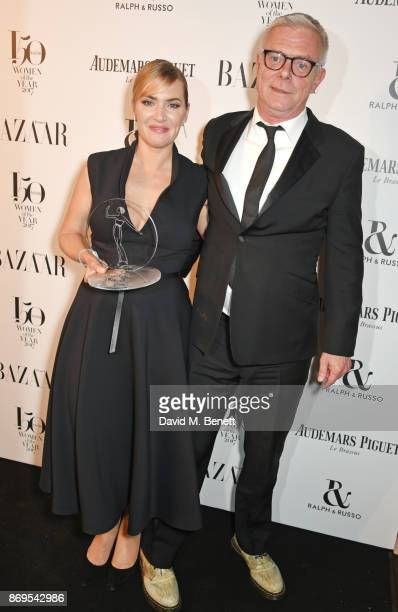 Kate Winslet winner of the British Actress of the Year award and Stephen Daldry attend Harper's Bazaar Women of the Year Awards in association with...