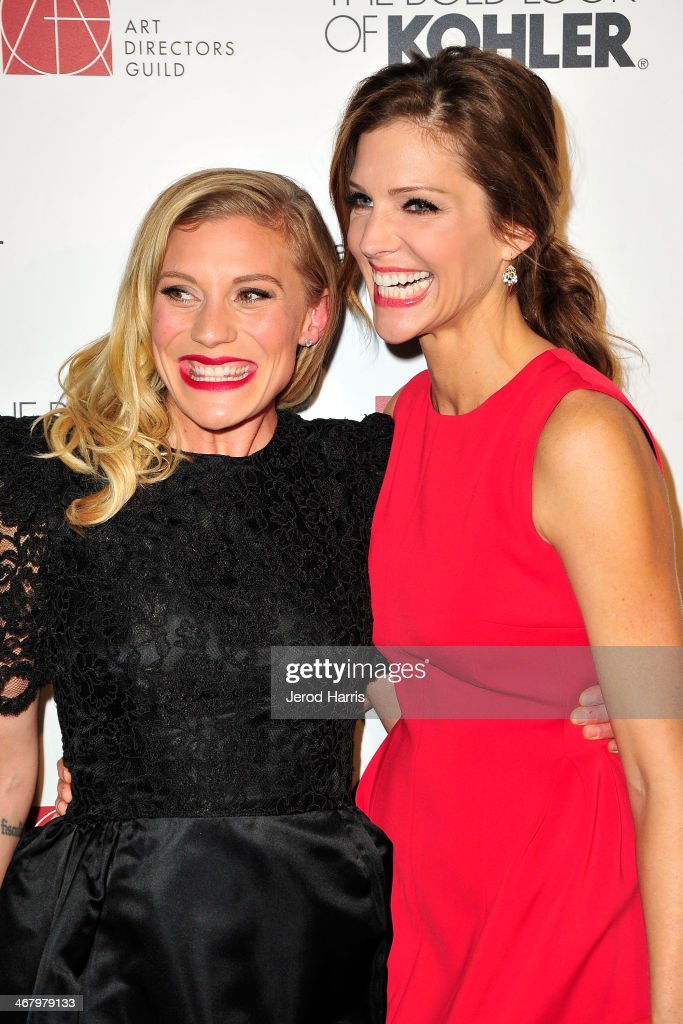 Katee Sackhoff and Tricia Helfer arrive at the 18th Annual Art Directors Guild Excellence in Production Design Awards at The Beverly Hilton Hotel on February 8, 2014 in Beverly Hills, California.