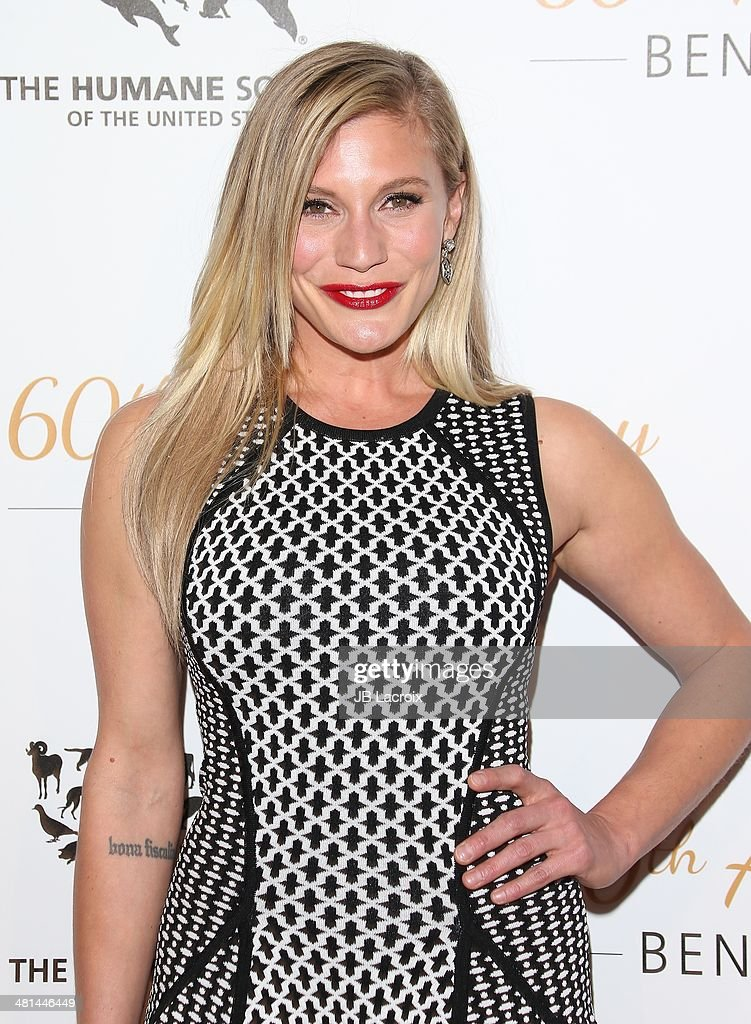 <a gi-track='captionPersonalityLinkClicked' href=/galleries/search?phrase=Katee+Sackhoff&family=editorial&specificpeople=2310579 ng-click='$event.stopPropagation()'>Katee Sackhoff</a> attends The Humane Society Of The United States 60th Anniversary Benefit Gala held at The Beverly Hilton Hotel on March 29, 2014 in Hollywood, California.