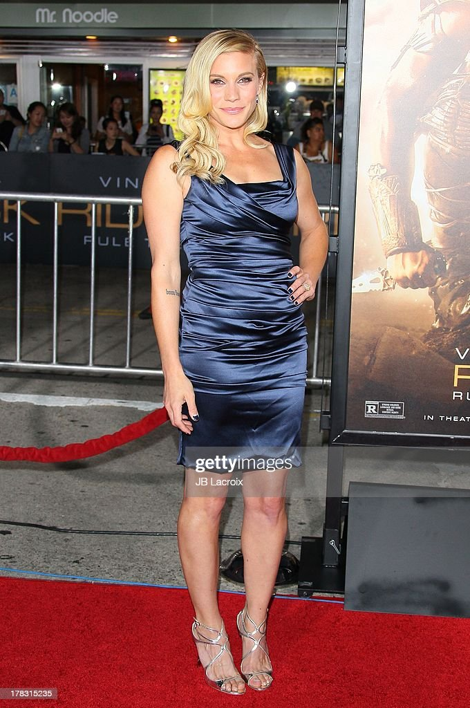 Katee Sackhoff attends the Los Angeles premiere of 'Riddick' at the Westwood Village Theatre on August 28, 2013 in Westwood, California.