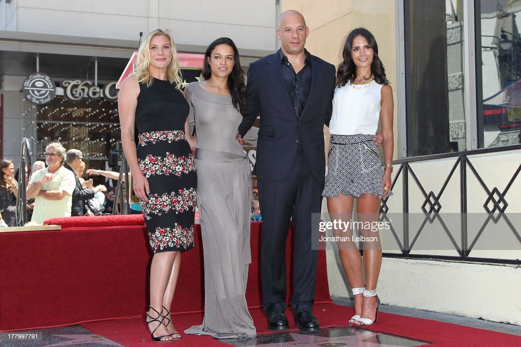 Katee Sackhoff, Michelle Rodriguez, Vin Diesel and Jordana Brewster attend the ceremony honoring Vin Diesel with a star on The Hollywood Walk of Fame held on August 26, 2013 in Hollywood, California.