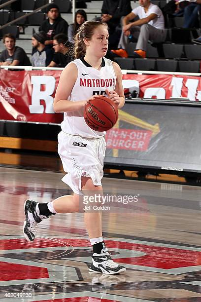 Katelin King of the CSUN Matadors dribbles the ball against the UC Santa Barbara Gauchos in the second half at The Matadome on January 15 2015 in...