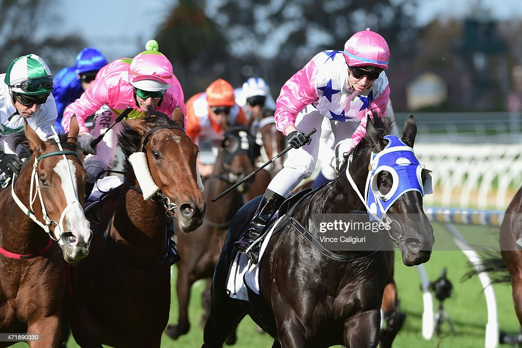 Katelyn Mallyon riding Black Vanquish defeats Michael Cahill riding Payroll in Race 5 the Thouroughbred Club Cup during Melbourne Racing at Caulfield...