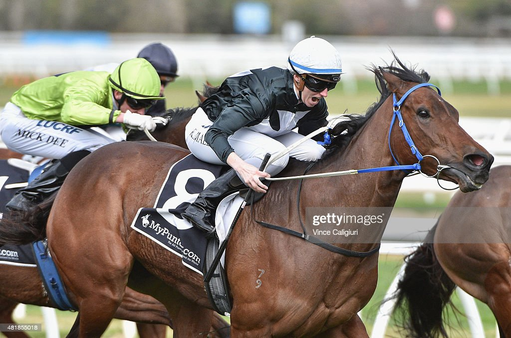 Katelyn Mallyon riding Forgeress wins Race 5 during Melbourne Racing at Caulfield Racecourse on July 25 2015 in Melbourne Australia