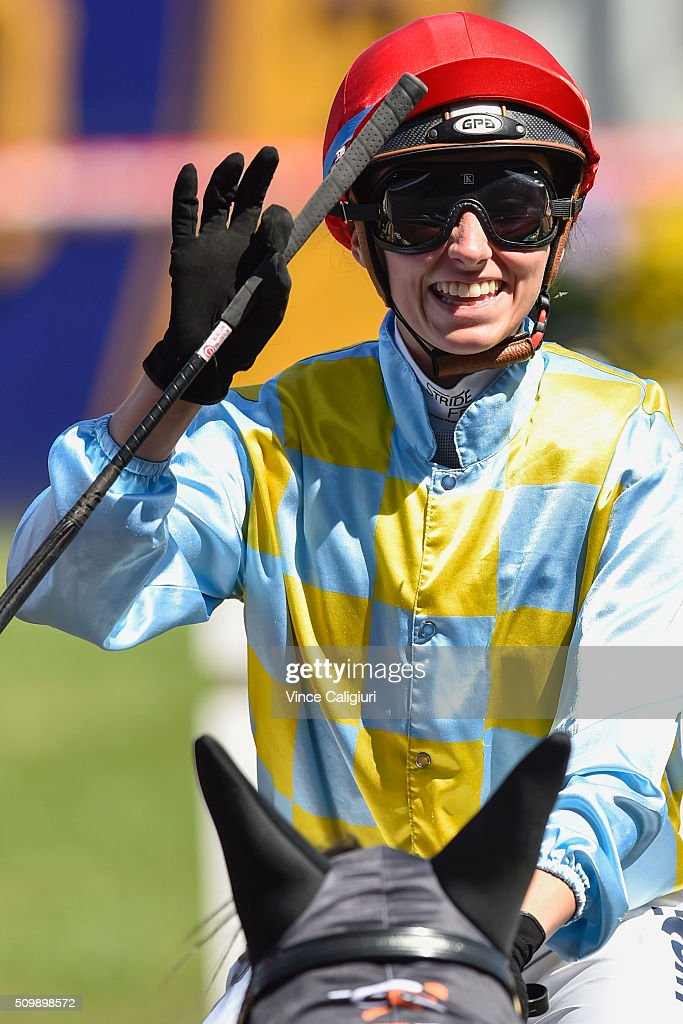Katelyn Mallyon riding Heatherly after winning Race 5,the Rubiton Stakes during Melbourne Racing at Caulfield Racecourse on February 13, 2016 in Melbourne, Australia.