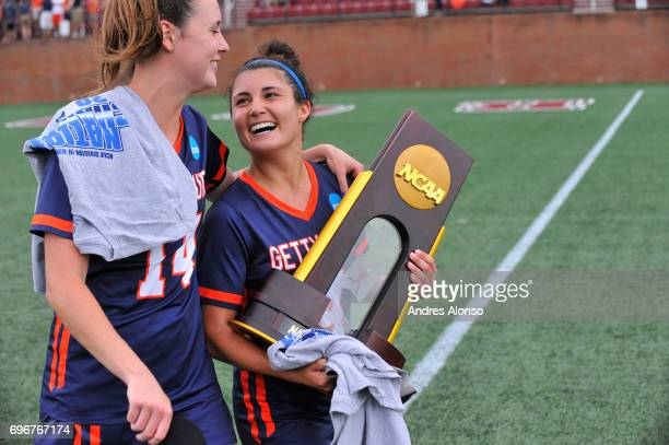 Katelyn Neillands and Maggie Welsh of Gettysburg College celebrate their victory over the College of New Jersey during the Division III Women's...