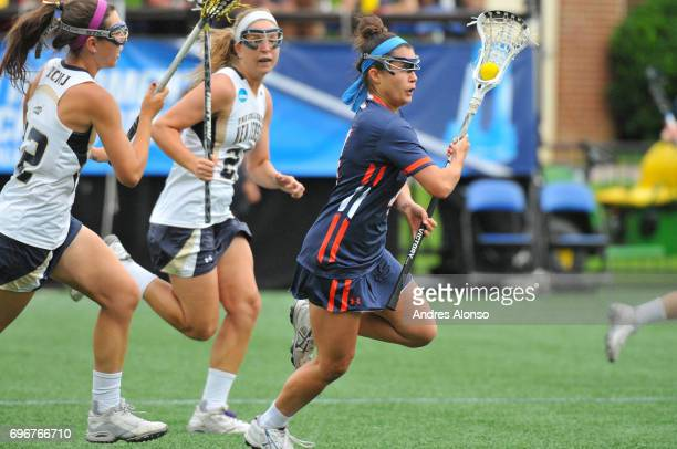 Katelyn Neillands of Gettysburg College pushes the ball upfield against the College of New Jersey during the Division III Women's Lacrosse...