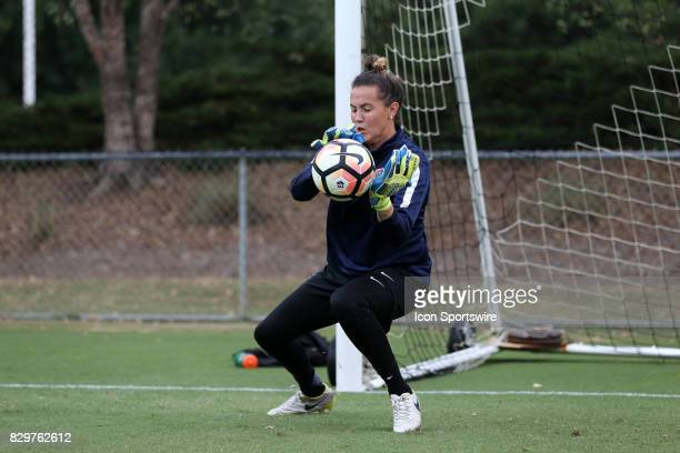 Katelyn Rowlandduring a North Carolina Courage training session on July 27 at WakeMed Soccer Park Field 7 in Cary NC