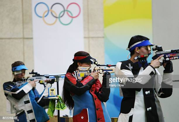 Katerina Emmons of Czech Republic Lyubov Galkina of Russia Snjezana Pejcic of Croatia participate in the Women's 10m Air Rifle Final at the Beijing...