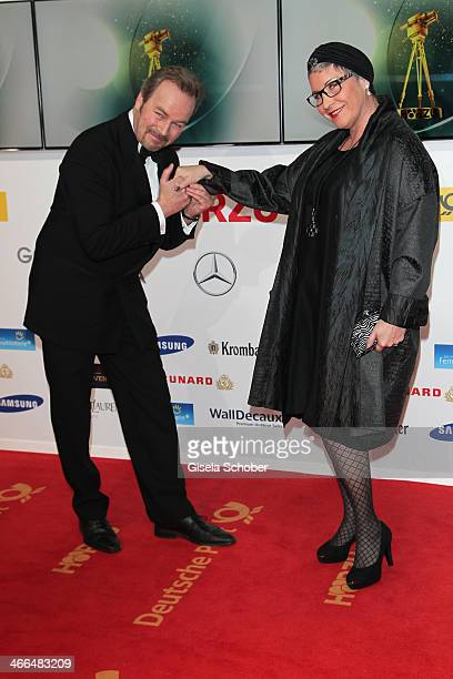 Katerina Jacob and Till Demtroeder attend the Goldene Kamera 2014 at Tempelhof Airport Hangar 7 on February 1 2014 in Berlin Germany