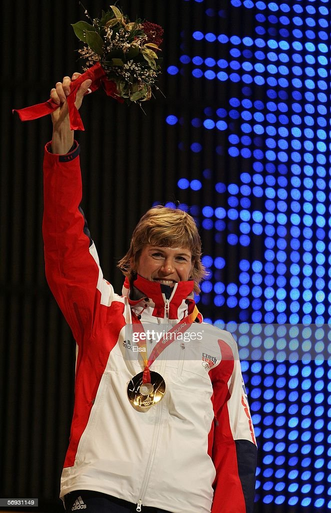 Katerina Neumannova of the Czech Republic won the gold medal in the Ladies' 30km crosscountry sking during the Medals Ceremony on Day 14 of the Turin...