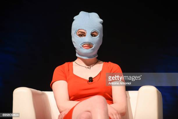 Katerina Samoutsevitch member of the antiPutinist punk rock group Pussy Riot attends the Cannes Lions Festival on June 22 2017 in Cannes France