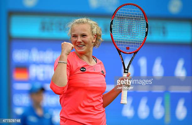 Katerina Siniakova of Czech Republic celebrates victory over Andrea Petkovic of Germany on day two of the Aegon Classic at Edgbaston Priory Club on...