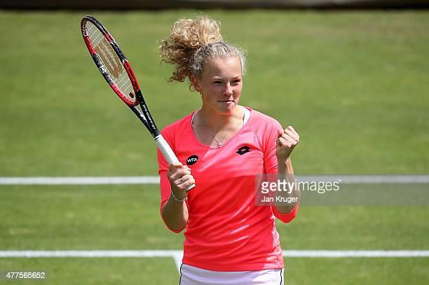 Katerina Siniakova of Czech Republic celebrates victory over Christina McHale of USA on day four of the Aegon Classic at Edgbaston Priory Club on...