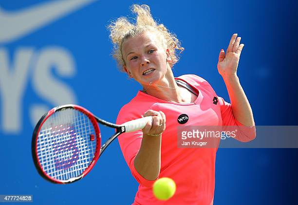 Katerina Siniakova of Czech Republic in action in her quarter finals match against Angelique Kerber of Germany on day five of the Aegon Classic at...