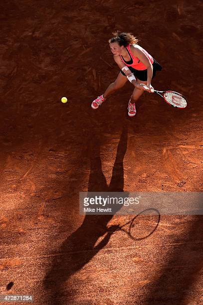 Katerina Siniakova of Czech Republic on her way to victory against Kristina Mladenovic of France during Day One of The Internazionali BNL d'Italia...