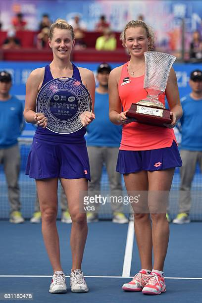 Katerina Siniakova of Czech Republic poses with Alison Riske of United States after winning the singles final match during Day 7 of 2017 WTA Shenzhen...
