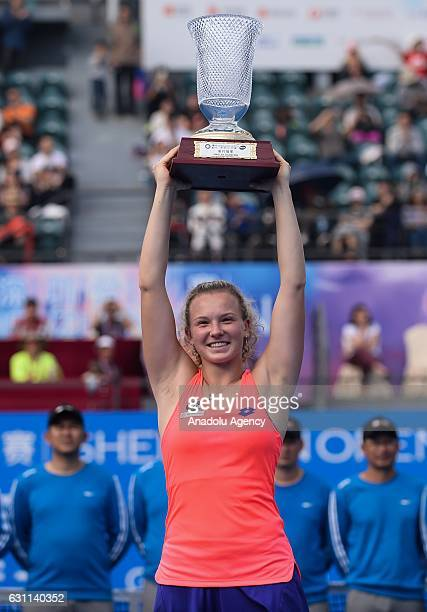 Katerina Siniakova of Czech Republic poses with her trophy after the 2017 WTA Shenzhen Open final match at Longgang International Tennis Center in...