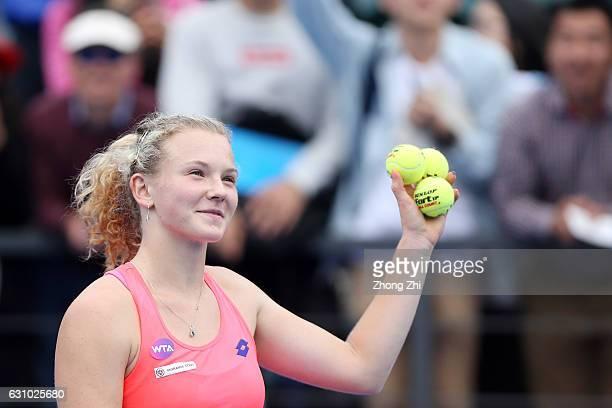 Katerina Siniakova of Czech Republic reacts after winning the match against Nina Stojanovic of Serbia during Day 5 of 2017 WTA Shenzhen Open at...
