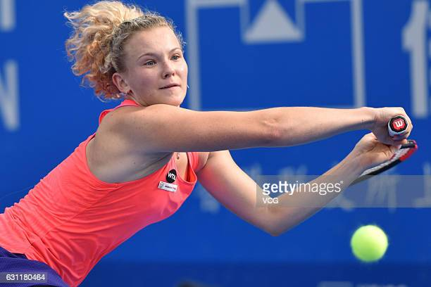 Katerina Siniakova of Czech Republic returns a shot during the singles final match against Alison Riske of United States on Day 7 of 2017 WTA...