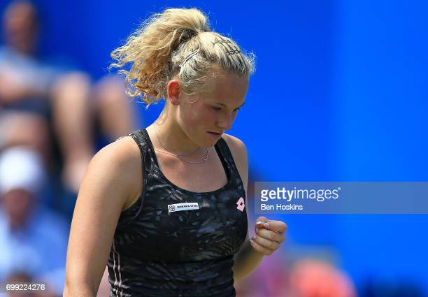 Katerina Siniakova of The Czech Republic celerbates winning a point during the second round match against Daria Gavrilova of Australia on day three...
