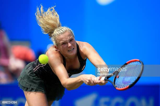 Katerina Siniakova of The Czech Republic hits a backhand during the second round match against Daria Gavrilova of Australia on day three of The Aegon...