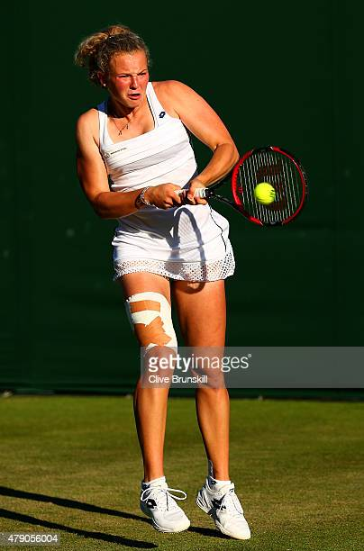 Katerina Siniakova of the Czech Republic in action in her Ladies Singles first round match against Denise Allertova of the Czech Republic during day...