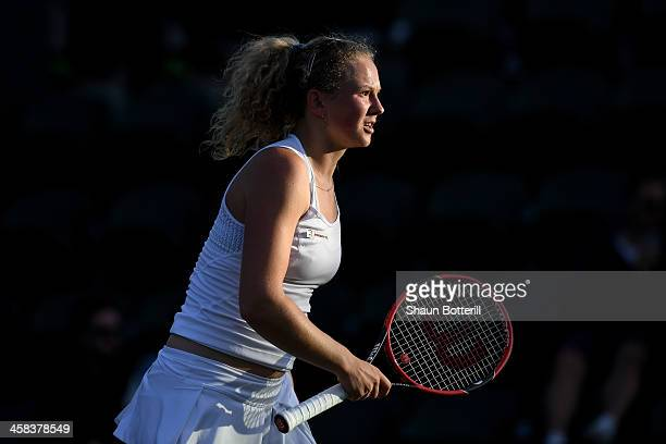 Katerina Siniakova of The Czech Republic looks on during the Ladies Singles third round match against Agnieszka Radawanska of Poland on day six of...