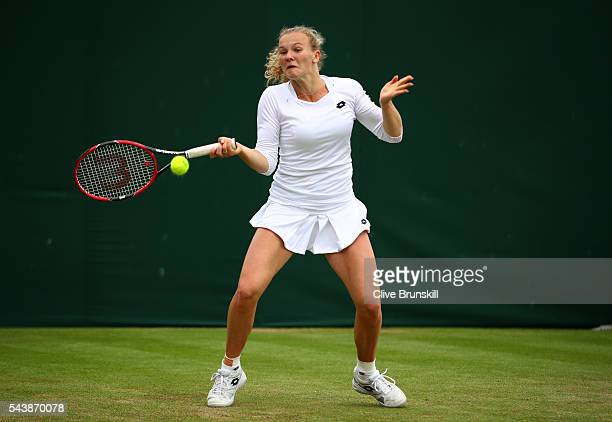 Katerina Siniakova of The Czech Republic plays a backhand during the Ladies Singles second round match against Caroline Garcia of France on day four...
