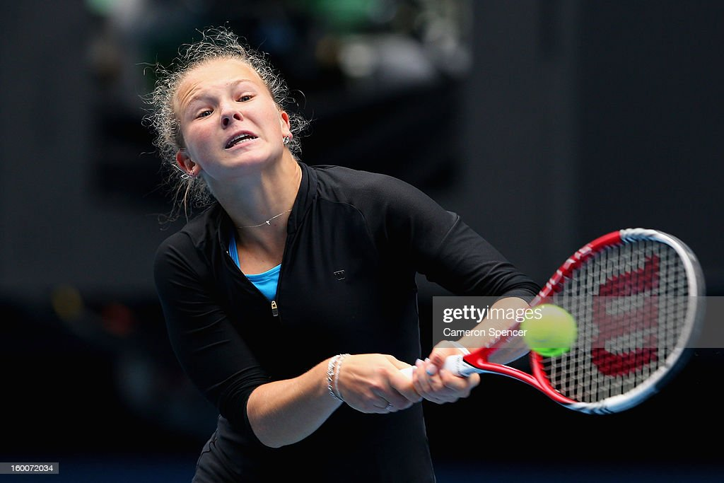 Katerina Siniakova of the Czech Republic plays a backhand in her junior girls' final match against Ana Konjuh of Croatia during the 2013 Australian Open Junior Championships at Melbourne Park on January 26, 2013 in Melbourne, Australia.