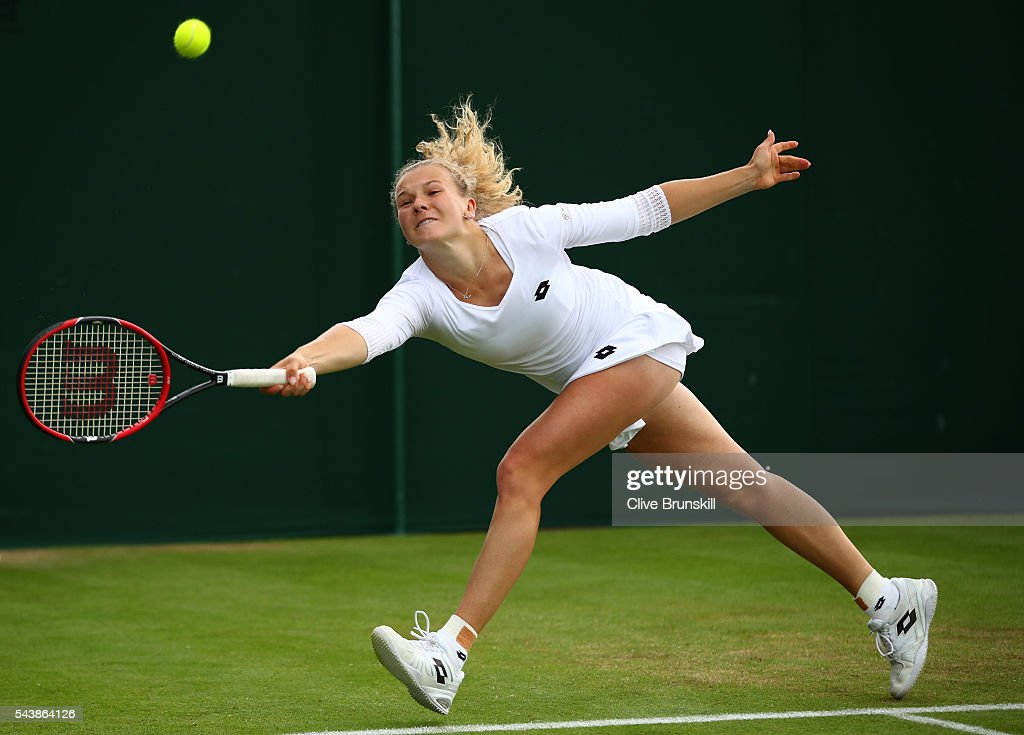 Katerina Siniakova of The Czech Republic plays a forehand during the Ladies Singles second round match against Caroline Garcia of France on day four of the Wimbledon Lawn Tennis Championships at the All England Lawn Tennis and Croquet Club on June 30, 2016 in London, England.
