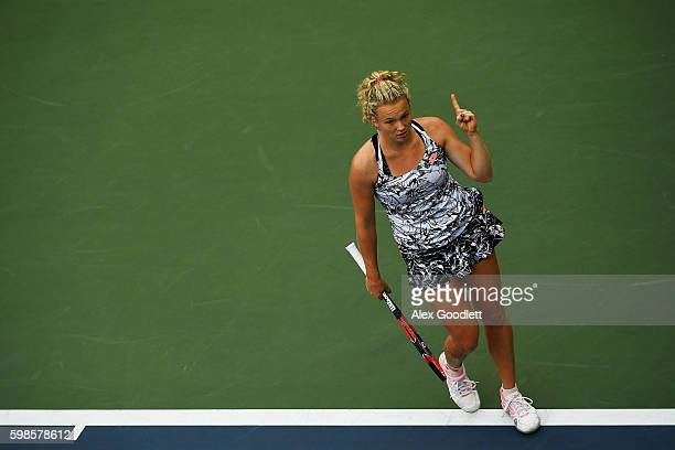Katerina Siniakova of the Czech Republic reacts against Caroline Garcia of France during her second round Women's Singles match on Day Four of the...