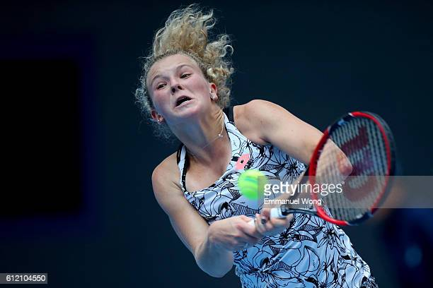 Katerina Siniakova of the Czech Republic returns a shot to Angelique Kerber of Germany during the Women's singles first round match on day three of...