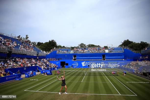 Katerina Siniakova of The Czech Republic serves during the second round match against Daria Gavrilova of Australia on day three of The Aegon Classic...