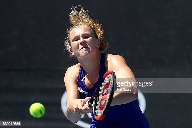Katerina Siniakova plays a backhand in her first round doubles match against AnnaLena Groenefeld and Kveta Peschke on day four of the 2017 Australian...