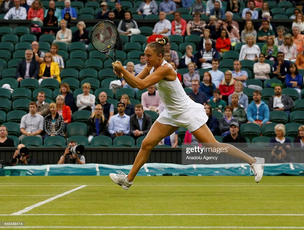 Kateryna Bondarenko of Ukraine in action against Coco Vandeweghe (not seen) of USA during the Women's Singles on day two of the 2016 Wimbledon Championships at the All England Lawn and Croquet Club in London, United Kingdom on June 28, 2016.