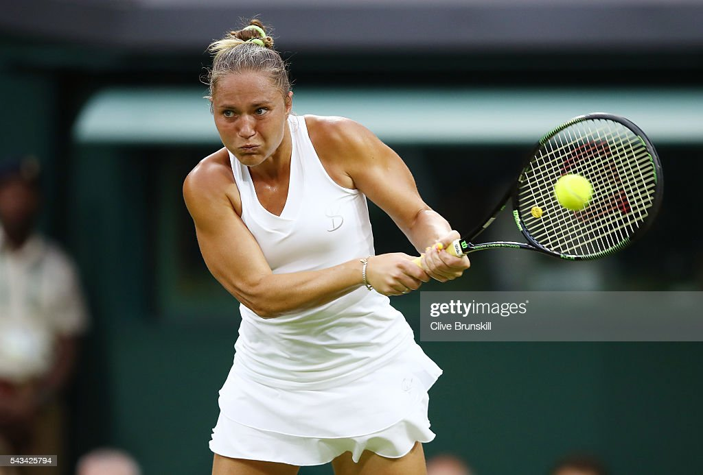Kateryna Bondarenko of Ukraine plays a backhand during the Ladies Singles first round match against Coco Vandeweghe of the United States on day two of the Wimbledon Lawn Tennis Championships at the All England Lawn Tennis and Croquet Club on June 28, 2016 in London, England.