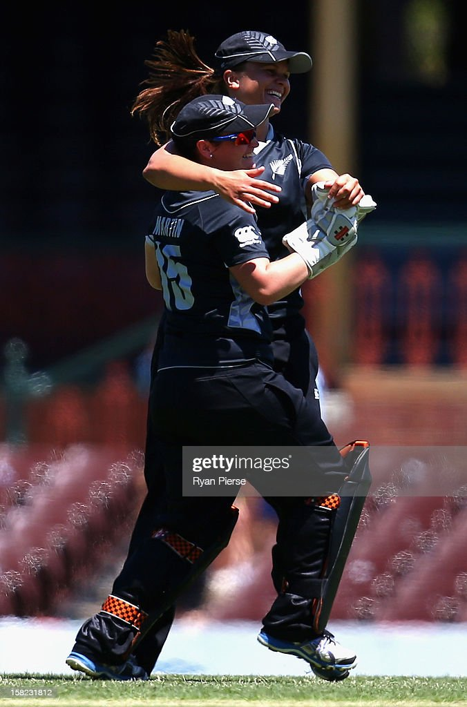 Katey Martin of New Zealand celebrates with Suzannah Bates of New Zealand after stumping Alex Blackwell of Australia during the first Rose Bowl Series One Day International match between Australia Southern Stars and New Zealand Silver Ferns at the Sydney Cricket Ground on December 12, 2012 in Sydney, Australia.