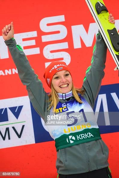 Katharina Althaus of Germany celebrates after winning the Ladies FIS World Cup ski jumping competition in Ljubno on February 12 2017 / AFP / Jure...