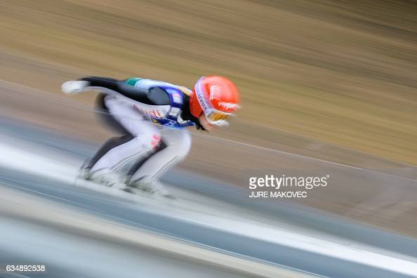 TOPSHOT Katharina Althaus of Germany competes during the qualifying round of the Ladies FIS World Cup ski jumping competition in Ljubno Slovenia on...