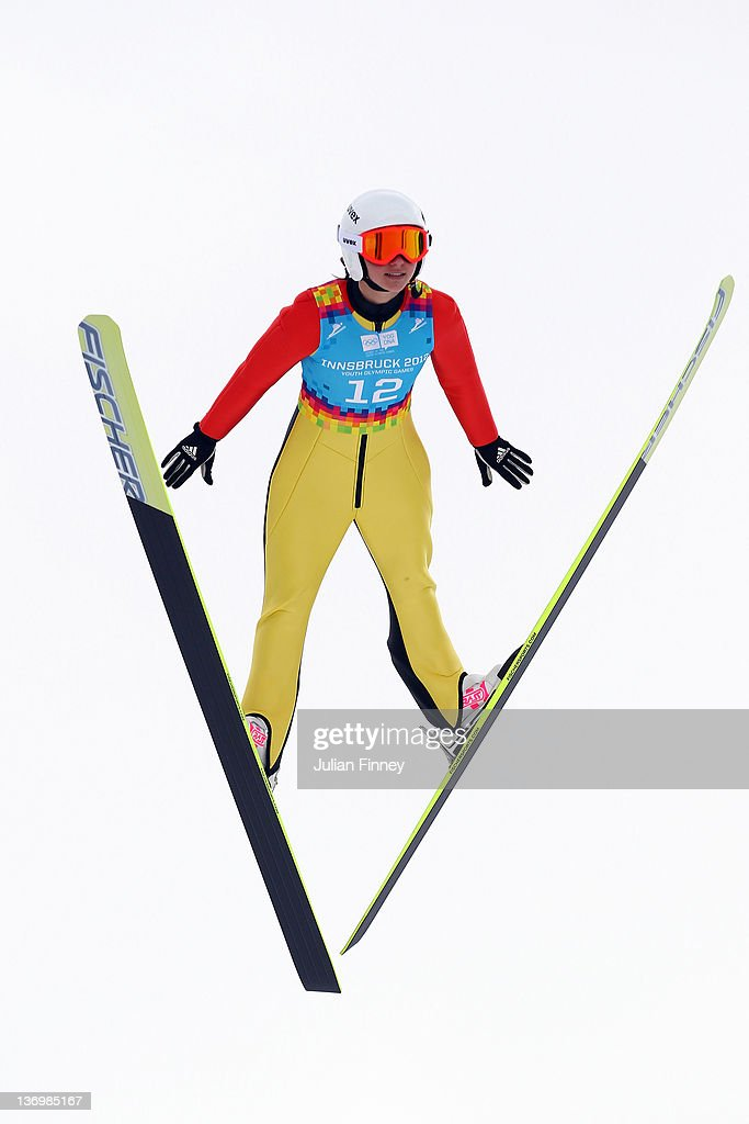 Katharina Althaus of Germany jumps during the Winter Youth Olympic Games Ski Jumping at Seefeld Arena on January 14, 2012 in Seefeld, Austria.
