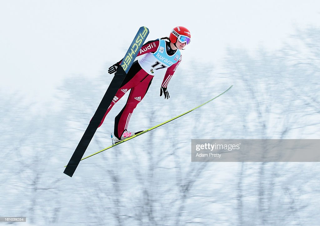 Katharina Althaus of Germany jumps in the first round of competition during day one of the FIS Women's Ski Jumping World Cup at Zao Jump Stadium on February 9, 2013 in Yamagata, Japan.
