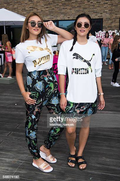 Katharina Damm and Anna Maria Damm pose during the 'LECK MICH AM HASHTAG' Brunch on June 30 2016 in Berlin Germany