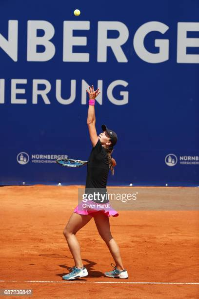 Katharina Gerlach of Germany in action against Kiki Bertens of Netherland in the first round during the WTA Nuernberger Versicherungscup on May 23...